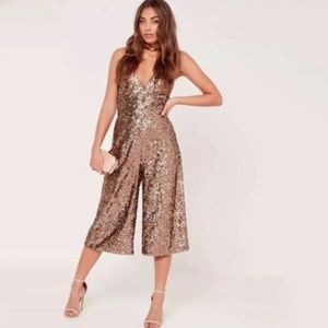 ROSE GOLD SEQUINED HIGH WAIST CROPPED JUMPSUIT